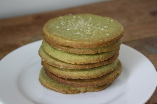 Matcha Shortbread cookies in a stack