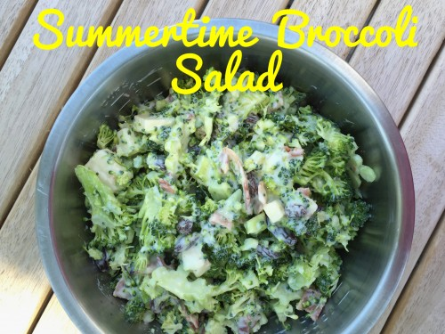 summertime broccoli salad in a bowl