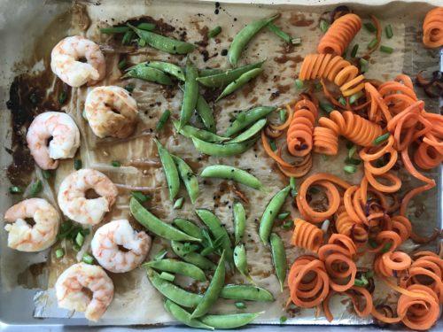 Sheet Pan Sesame-Ginger Shrimp with Carrot Noodles