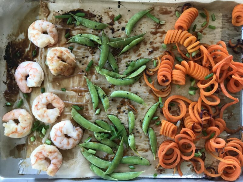 Sheet Pan Sesame-Ginger Shrimp with Carrot Noodles