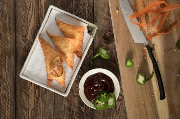 Air Fryer Recipe: BBQ Wontons on plate with jalapeno
