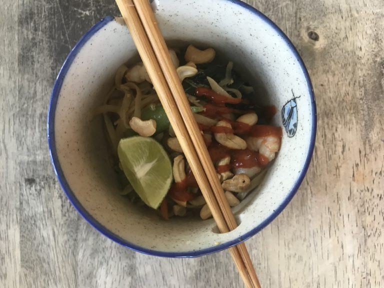 bowl of easy healthy pad thai with chicken and shrimp