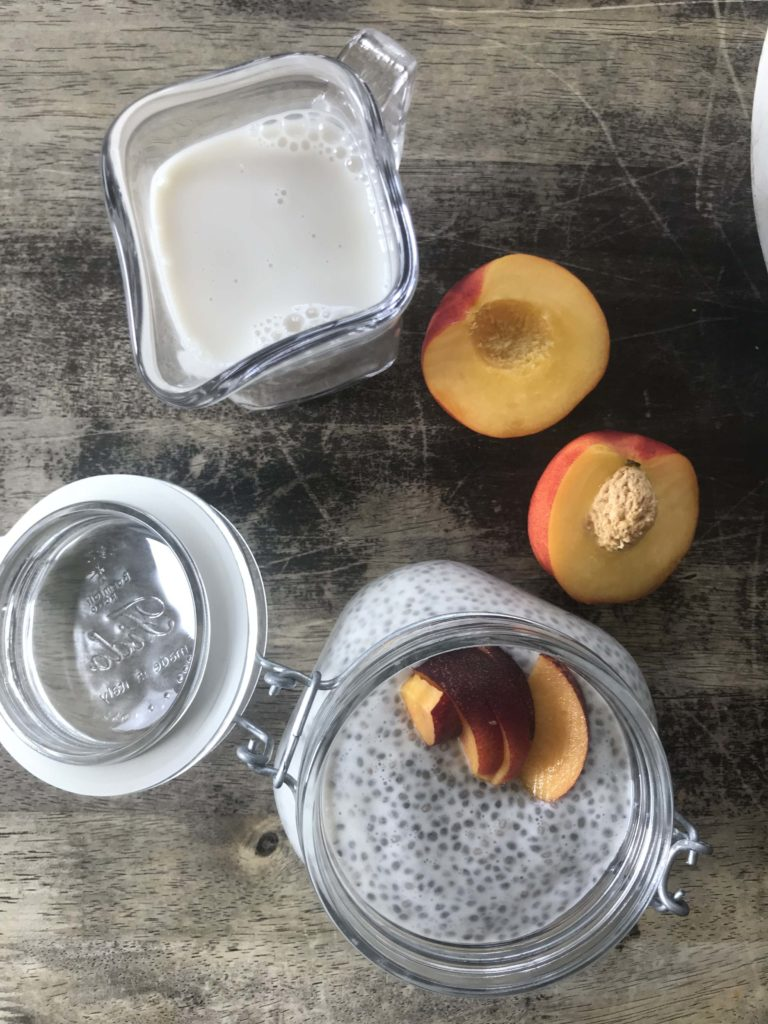 nectarine with milk and yogurt for chia seed pudding