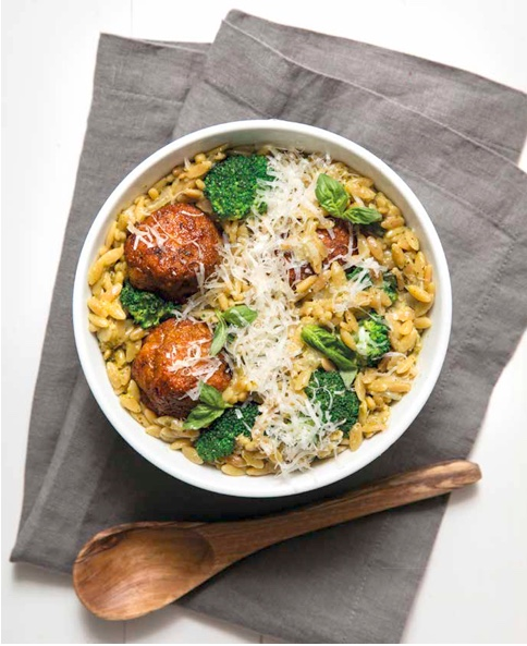 Pesto Turkey Meatballs with Orzo
